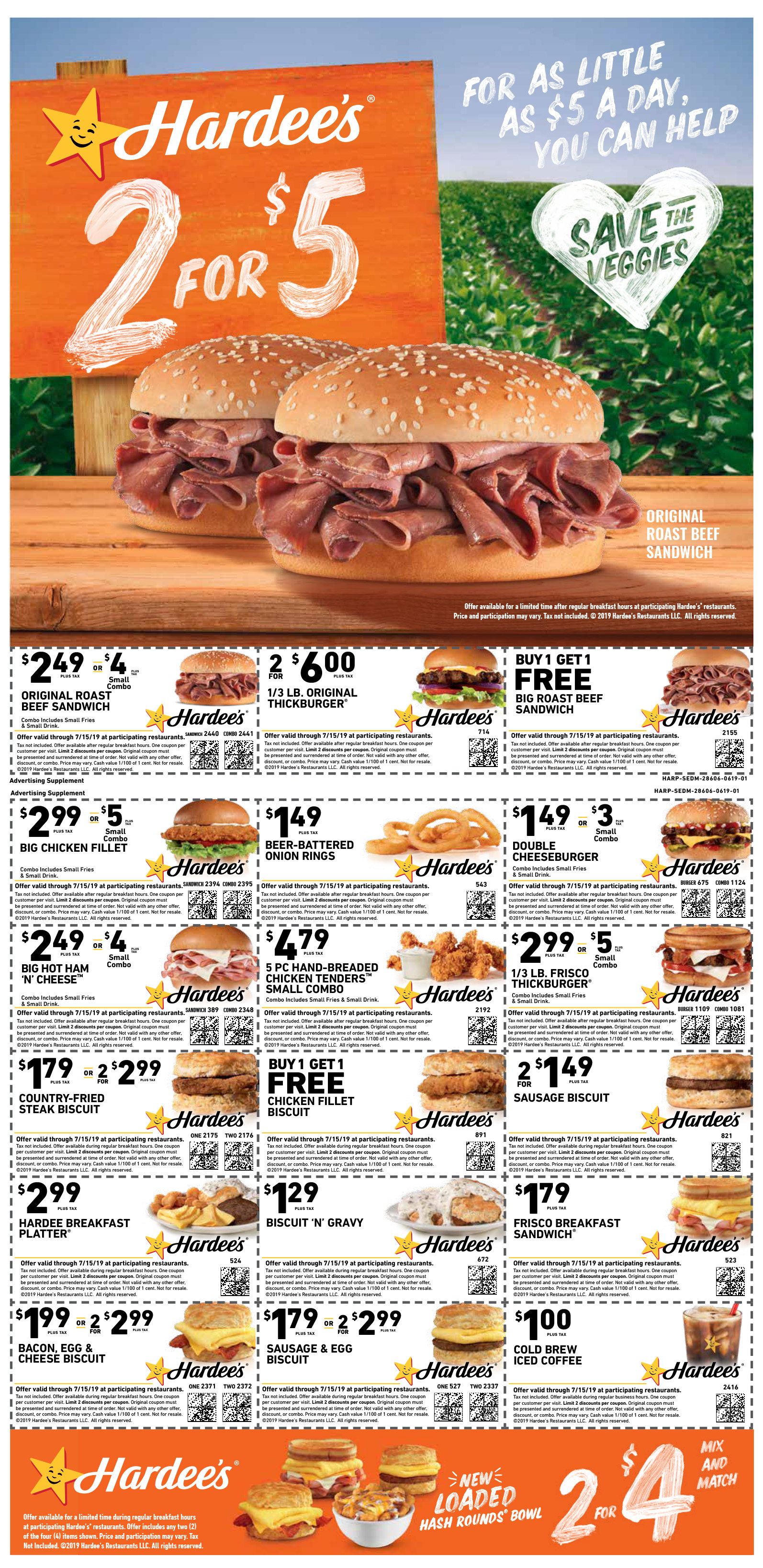 It's just a picture of Stupendous Printable Hardees Coupons
